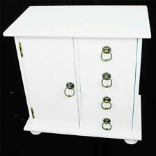 Shabby Chic White 4 Drawer & Cupboard Dressing Table Organiser Jewellery Cabinet
