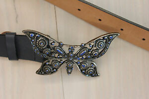 Navy Leather Belt with Butterfly Buckle - Size S
