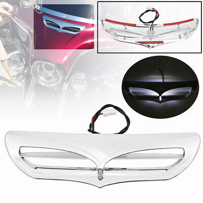Batwing Fairing Vent Trim w// LED Accent Light For Harley Touring 2014-17 Chrome