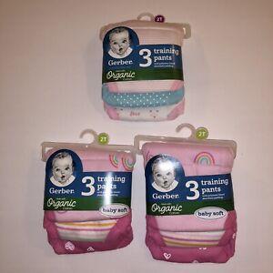 NEW Gerber Organic Cotton Training Pants 3-Pack Girls 2T Lot of 3 Packs Rainbows