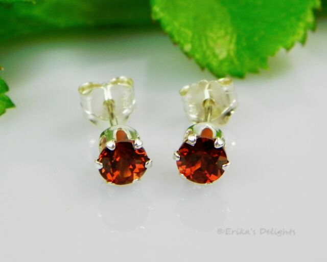 Genuine Mozambique Garnet Round Sterling Silver Earrings (FREE SHIPPING)