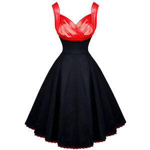 Hearts-and-Roses-London-Black-Red-Satin-1950s-Vintage-Party-Prom-Swing-Dress