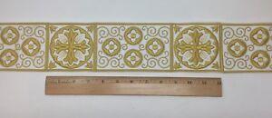 Orphrey-Vintage-Croce-Design-Color-Oro-su-Bianco-Fascia-8-3cm-Ampio-Venduti-Di