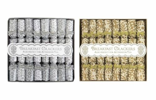 16 Mini Christmas Crackers Saucer Breakfast Crackers Silver Gold Decoration Bow