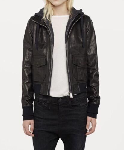 R13 Black Hooded Leather Flight Jacket