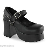 Demonia Abbey-02 Mary Jane Black Vegan Leather Block Heel Shoes
