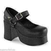 Demonia Abbey-02 Mary Jane Black Vegan Leather Block Heel Shoes