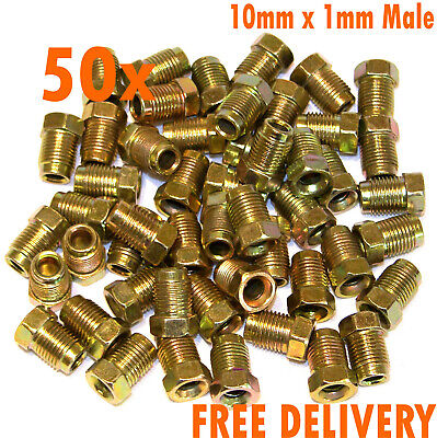 """50x Male Brake Pipe Fittings Flare Nuts Metric 10mm x 1mm DIN//ISO 3//16/"""" Pipe"""