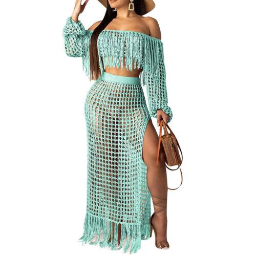 Summer Crochet Dress Beach Wear Women Two Piece Crop Tassels Top Skirt Set S-3XL