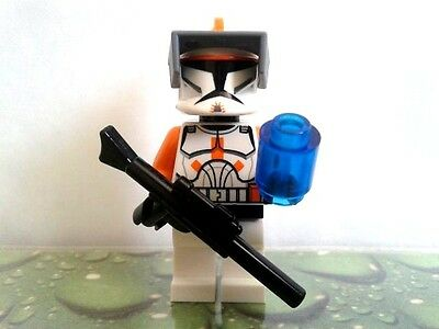 NEW Lego Star Wars ORANGE CLONE TROOPER COMMANDER CODY MINIFIGURE 7676 7959 REX