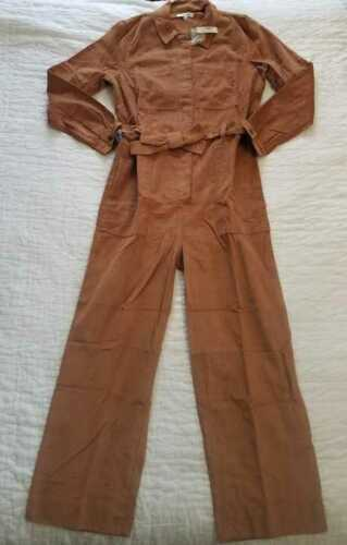 NEW WOMEN/'S MADEWELL CORDUROY BELTED JUMPSUIT COVERALLS IN BURNT SIENNA