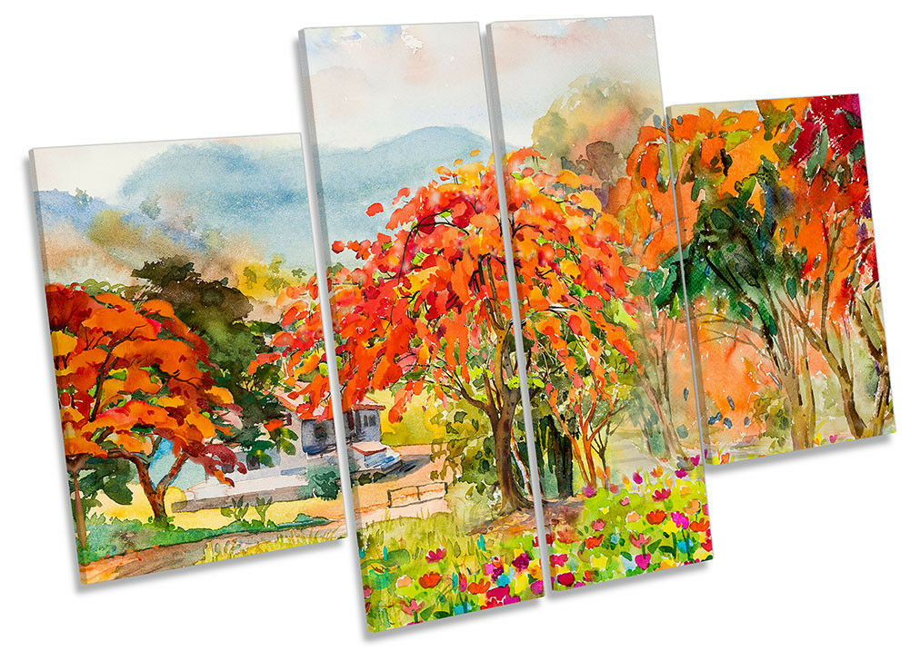 Autumn Colourful Trees Repro Framed CANVAS PRINT Four Panel Wall Art