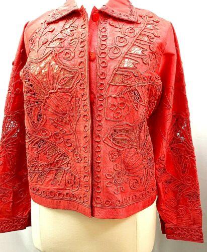 Silk Jacket Coral Soutache Size LG