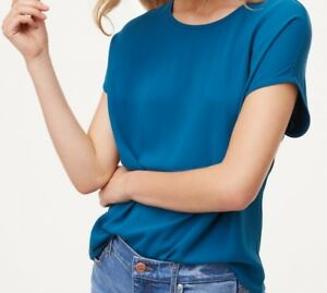 25d45d73861 Details about Ann Taylor LOFT Tie Back Mixed Media Top Size XS Petite
