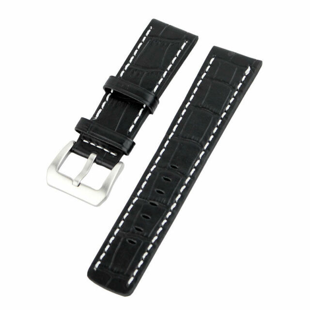 Black Alligator Stitch Croco Grain Leather Band Strap for Big Watch Paneraistrap