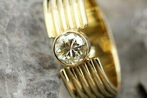 0,65 ct. Brillant Gold Ring 585 Gelbgold 14K Solitär 1 Diamant SI1 K Größe 55