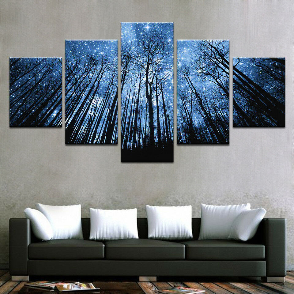 Forest Bule Night Starry Sky 5 Panel Canvas Print Wall Art