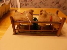 LATE 1800S EARLY 1900S MADE IN GERMANY SHEEP PULL TOY WITH FOUR SHEEP AND TREE