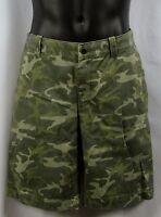 Gh Bass & Co Mens Camo Print Shorts Khaki Chino Style 100% Cotton
