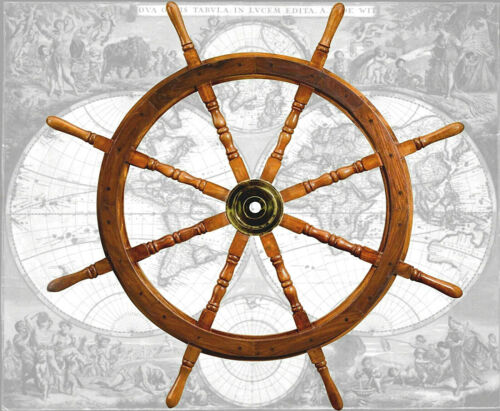 Hochprofessionell verarbeitetes Steuerrad Schiffssteuerrad aus Hartholz Ø 107cm