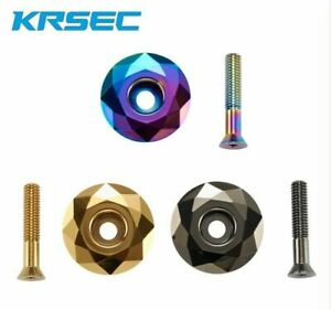 KRSEC-Aluminium-1-1-8-034-casque-Stem-Top-Cap-avec-Bolt-For-Road-Mountain-Bike-1pc