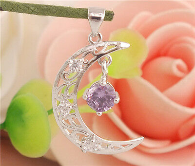 Fashion Silver Plated Cute Moon Purple Cubic Zirconia Charming Women's Pendant