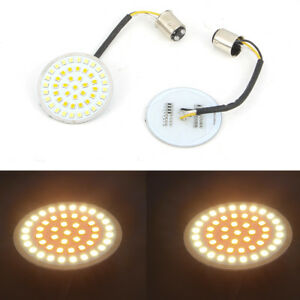 2-034-Motorcycle-Bullet-Style-1157-White-Amber-LED-Turn-Signal-Inserts-For-Harley