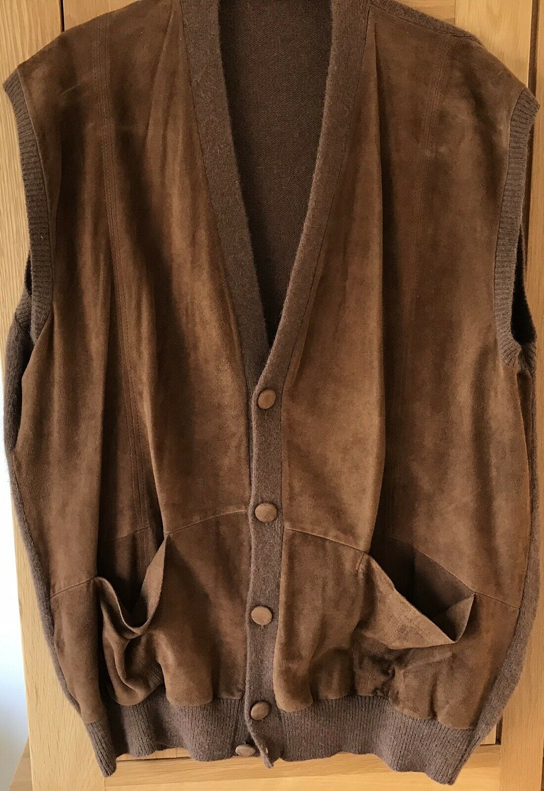 Men's Brown Tan Suede Knitted Waistcoat Size XL