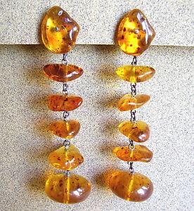 IngéNieux 1142 / Longues Boucles D'oreille Clips / Resine De Couleur Ambre