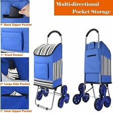 Folding Shopping Cart Stair Climber Cart With Wheels 200 Lbs Grocery Multi Use