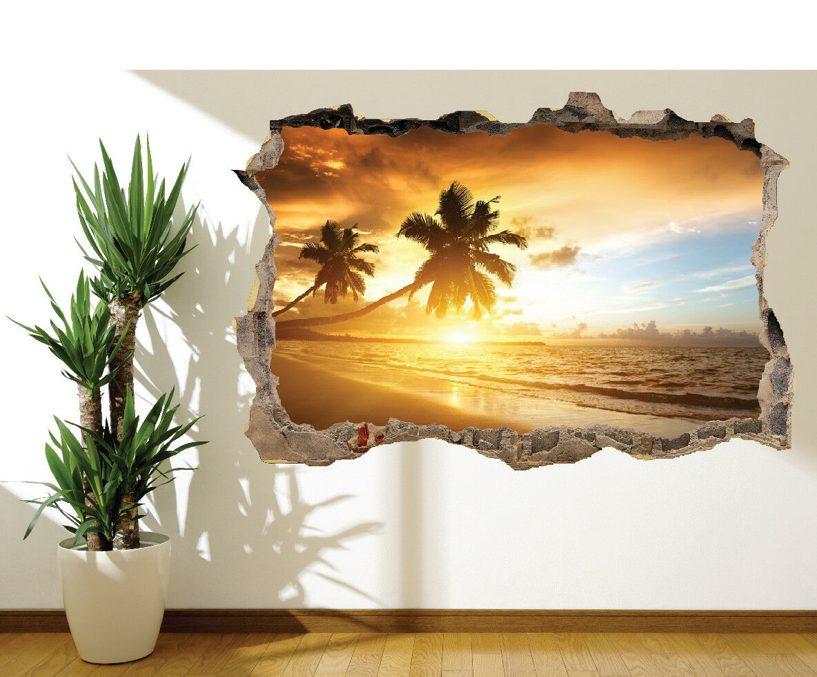 Strand mit Palme Bäume bei Sonnenuntergang Urlaub Wandaufkleber Wandbild