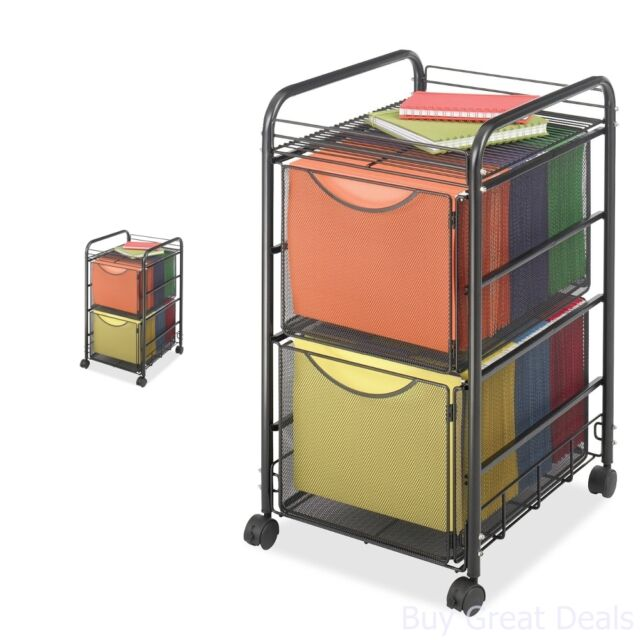 File Rolling Cart Storage Mobile Cabinet Metal Wire Home Office 2 Drawers  Black