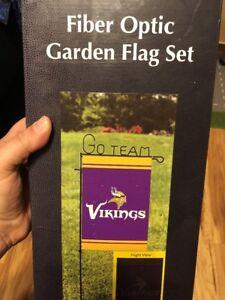 Nfl Fiber Optic Minnesota Vikings Team Flag Garden Set Ebay