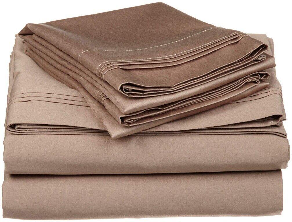 4-pc Full 100% Egyptian Cotton Taupe Sheet Set Triple Pleated Hem