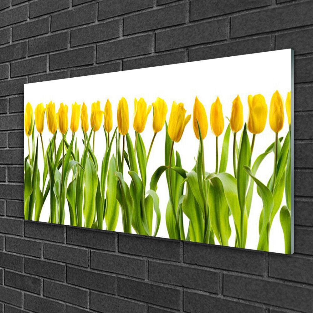 Image sur verre acrylique Tableau Impression 100x50 Floral Tulipes