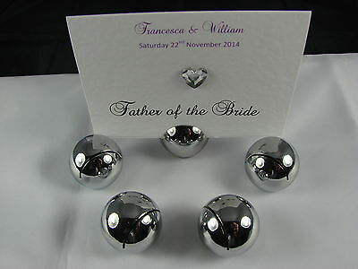Wedding Place Card,Table Number or Menu Cards Chrome Round Holders