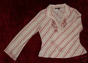 60s-70s-VTG-BOHO-Rampage-RED-White-Sequin-Embroidered-Long-Sleeve-Shirt-Top-M