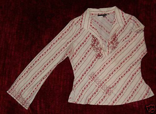 60s 70s VTG BOHO Rampage RED White Sequin Embroidered Long Sleeve Shirt Top M