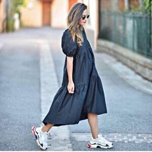 NWT ZARA asymmetric poplin dress size XS
