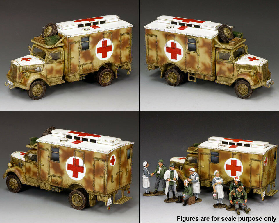 KING & COUNTRY WW2 GERMAN ARMY WH004 OPEL BLITZ CAMOUFLAGE AMBULANCE MIB