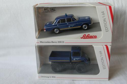 Schuco 1:64 THW Unimog und Mercedes 200D //8