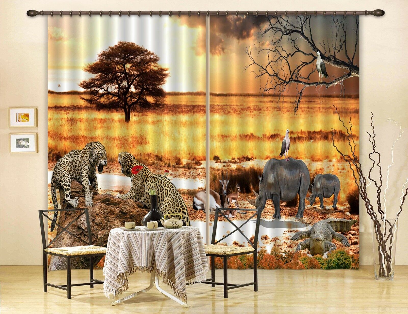 3D elefantenwiese 8 Cortinas de impresión de Cortina Blockout Foto Tela Cortinas Ventana au