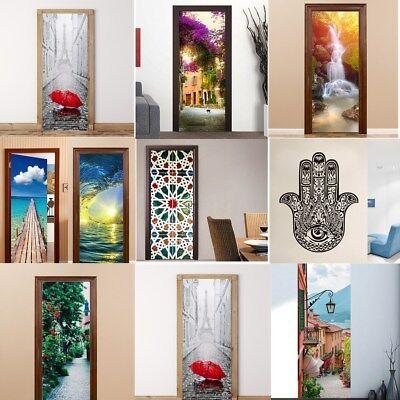 3D Door Wall Fridge Sticker Decals Self Adhesive Mural Scenery Paper Home Decor