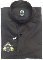 Mens Marc Darcy Soft Satin Feel Dressy Grandad Collar Shirt F17 - Black