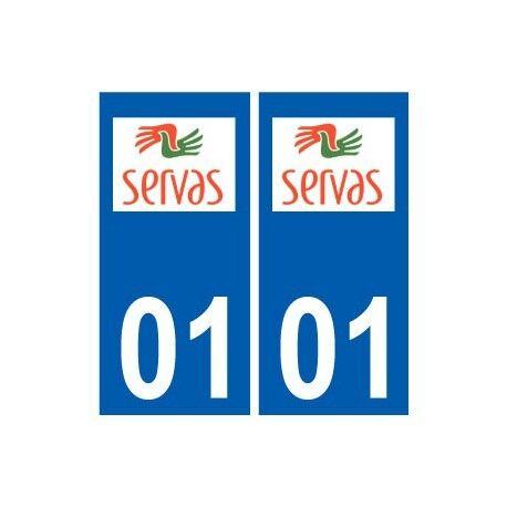 01 Servas logo ville autocollant plaque sticker -  Angles : droits