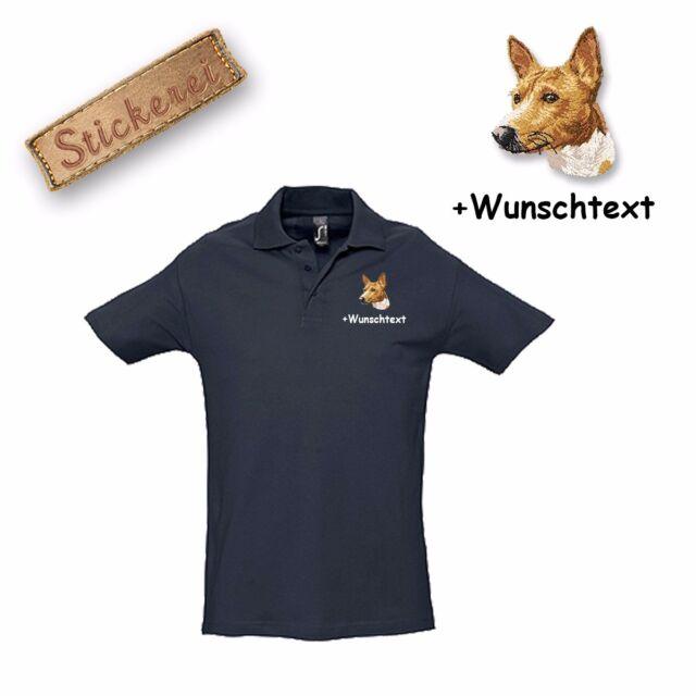Poloshirt Shirt Baumwolle bestickt Stickerei Hund Basset Wunschtext