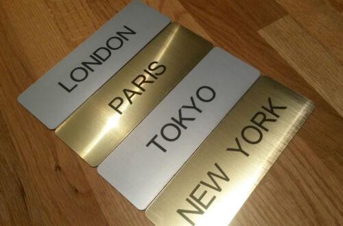Engraved World//City Clock Time Zone Sign with Self Adhesive Backing and Free P/&P