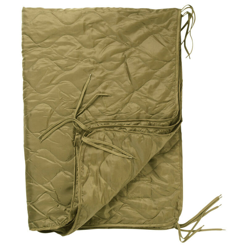 Military Quilted Poncho Liner Hiking Blanket Camping Sleeping Bag Ripstop Coyote