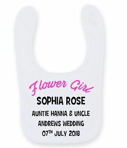 Personalised Flower Girl Baby Bib Cute Funny Velcro Wedding Baby Bib B055