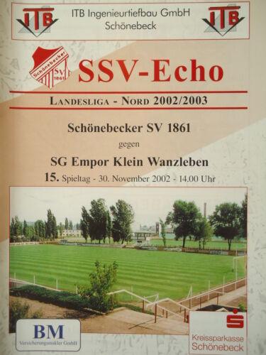 Empor Klein Wanzleben Programm 2002/03 Schönebecker SV 1861 Sammeln & Seltenes